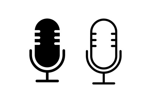Microphone Icons set on white background. Mic sign. Karaoke microphone icon. Broadcast mic sign