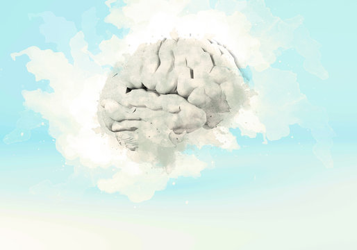 silhouette of the brain image with watercolor on a white and light blue background. concept of creativity. 3d rendering.