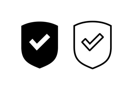 Shield check mark logo icons set. Protection approve sign. Safe icon vector