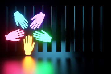 Inclusion, team of workers five multi-colored hand icons on a dark background, neon light. Team building cultural diversity staffing decisions. 3D render, 3D illustration, copy space.