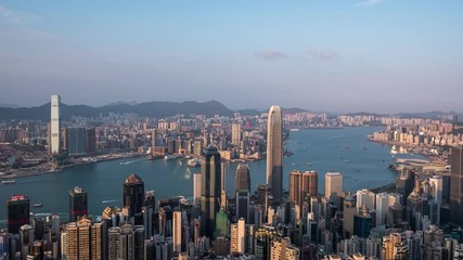 Fotomurales - Aerial Hong Kong city view from the peak at twilight
