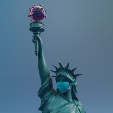 Statue of liberty wear surgery mask . Save USA from Coronavirus Covid 19. 3d rendering.