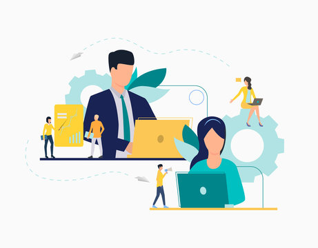 Communication flat icon. Department leaders, laptop, presentation, gear. Teamwork concept. Can be used for topics like leadership, unit, business, analysis