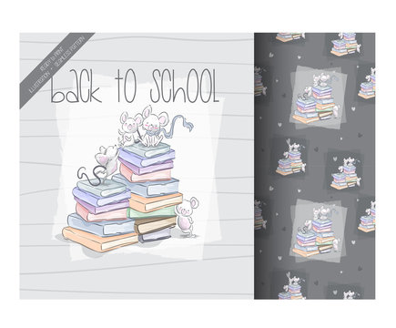 Cartoon cute mouses back to school with seamless pattern