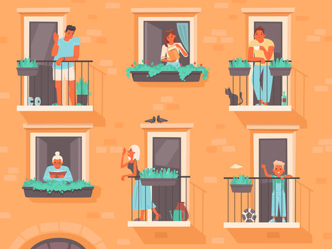 Neighborhood concept. People stand on balconies or look out of windows. The neighbors of an apartment building