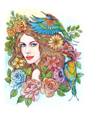 Watercolor drawing woman with flowers and birds