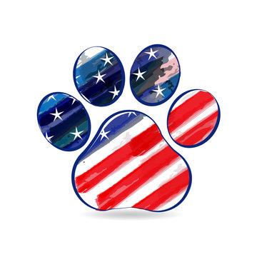 Footprint dog american flag USA watercolor logo vector