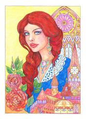 Drawing beautiful young woman with red hair, castle and flowers