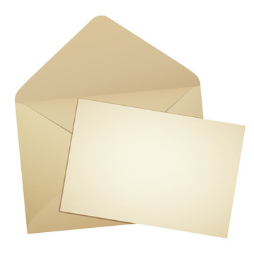 開いた古い封筒とはみ出す手紙イラスト