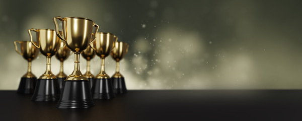 close up golden trophy award . copy space for text. 3d rendering.