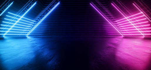 Neon Synthwave Cyber Purple Blue Cyberpunk Triangle Warehouse Tunnel Corridor Concrete Cement Asphalt Laser Beams Club Dance Stage Fashion Parking Garage 3D Rendering
