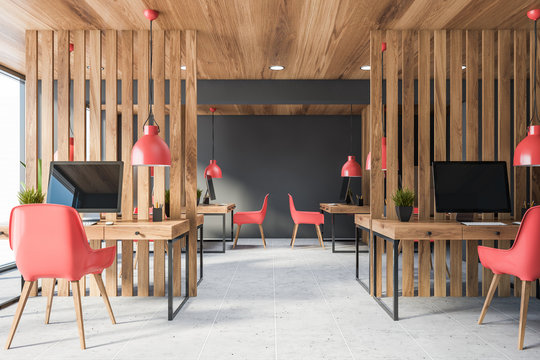 Wooden and gray open space office interior