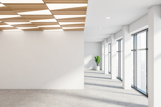Empty white office hall with mock up wall