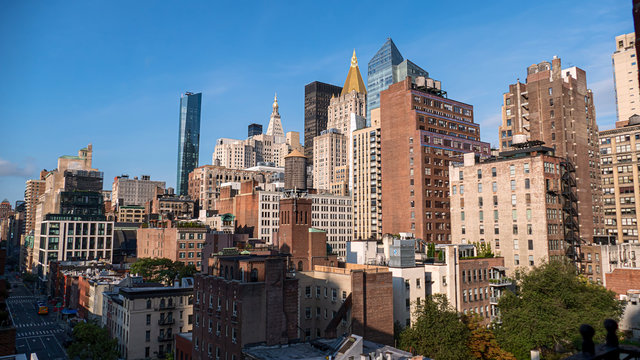 panoramic buildings of new york in the manhattan area