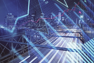 Wall Murals New York Forex chart on cityscape with tall buildings background multi exposure. Financial research concept.
