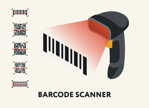 Isometric Barcode QR Code Scanner Reader. Set Of QR Codes. Flat Vector Icon.