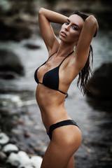 beautiful young lady in bikini posing on a beach