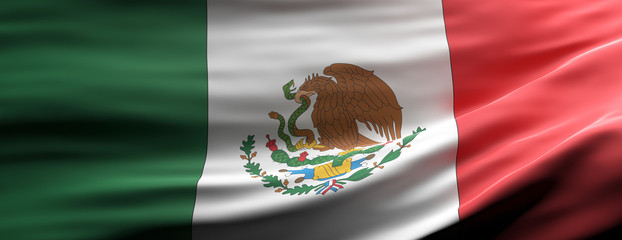 Mexico national flag waving texture background. 3d illustration