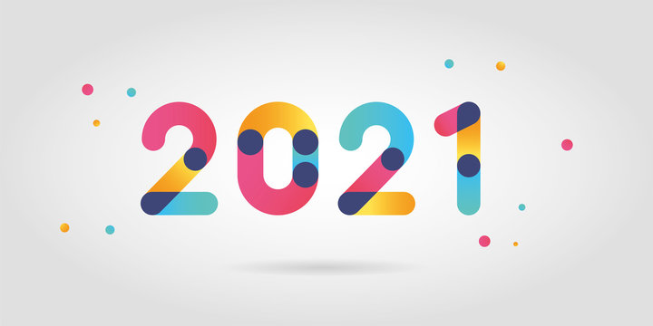 2021 new year numbers with gradient color