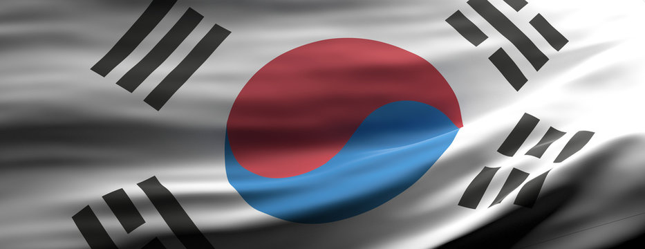 San South Korea national flag waving texture background. 3d illustration