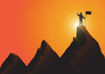 Silhouette of man standing on top of the mountain with flag with fist raised up on golden sunrise background, success, achievement and winning concept vector illustration Fotobehang