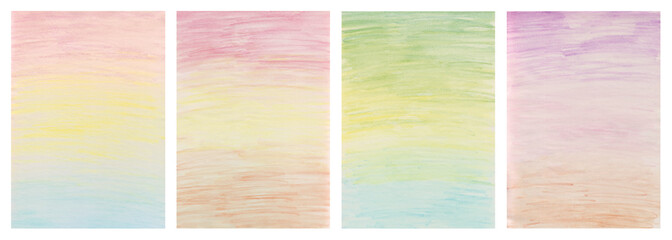 Set of hand drawing backgrounds with crayons and watercolor, soft color gradients, paper texture.