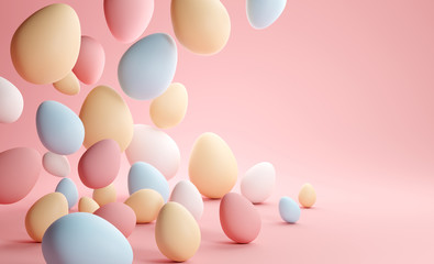 Pastel Colour Easter Eggs Background