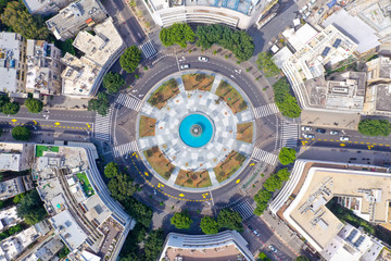 Corona Virus lockdown, Tel Aviv Dizengoff square, Aerial view or the square and surrounding buildings during Government lockdown guidelines. Fotobehang