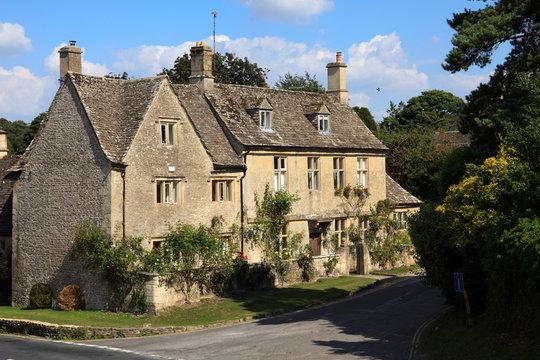 Bibury (England), UK - August 05, 2015: Bibury village view, Gloucestershire, England, United Kingdom.