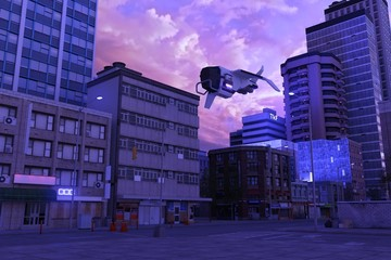 Fotomurales - Urban future cityscape against beautiful pink cloudscape. Sunset in a cyberpunk city. Empty street with neon lights. 3D illustration.