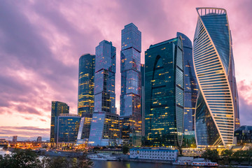 Moscow. Russia. Skyscrapers against a gray-pink sky. Evening in the center of Moscow. Moskva-city. High-rise office buildings. Modern urban architecture. city of Russia. The Capital Of The Russia. Wall mural