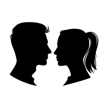 Woman and man profiles