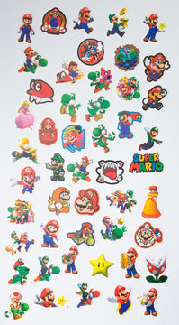 lonond, england, 05/05/2019 A large set of nintendo super mario brothers character collection set sticker pack. World famous iconic computer game icons from nintendo entertainment system.