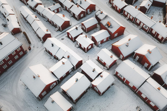 Winter Cabins From Above
