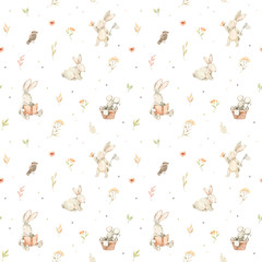 Watercolor seamless pattern with cute bunnies, mouse, bird and floral elements. Spring collection. Perfect for kids textile, fabric, wrapping paper, linens, wallpaper etc