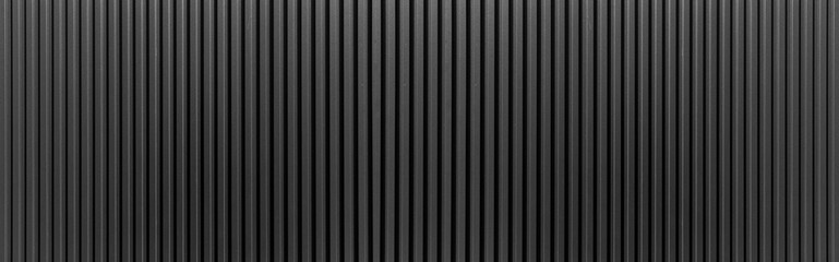 Photo sur cadre textile Metal Panorama of Black Corrugated metal texture surface or galvanize steel.