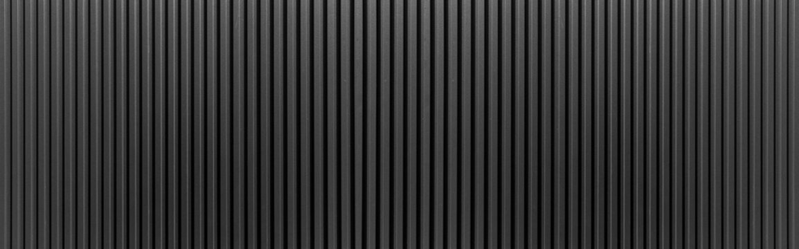 Panorama of Black Corrugated metal texture surface or galvanize steel.