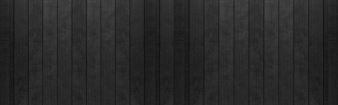 Panorama of Black wood fence texture and background seamless.