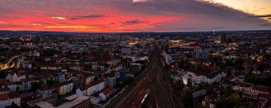 Cityscape of Hanover at sunset