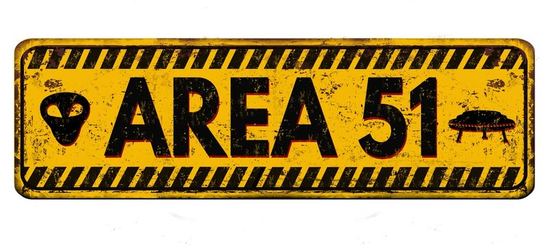 Illustration of a black and yellow Area 51 sign against a white background
