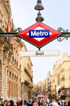 Madrid, Spain - January 10, 2020. Puerta del Sol Metro Subway station sign. Madrid, Spain.