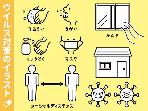 ウイルス対策のイラスト セット うがい 手洗い マスク