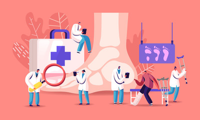 Podiatry Concept. Doctor Podiatrist Character Examine Foot, Ankle and Lower Extremity Disease. Feet Toe Trauma, Pathology and Illness Treatment, Patient on Crutches. Cartoon People Vector Illustration