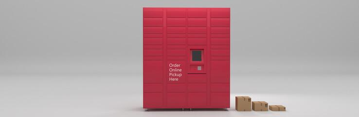 Fototapeta Order online service delivery pickup self-service locker, grocery, parcel delivery shipping, distribution, drop off and hub banner 3D rendering obraz