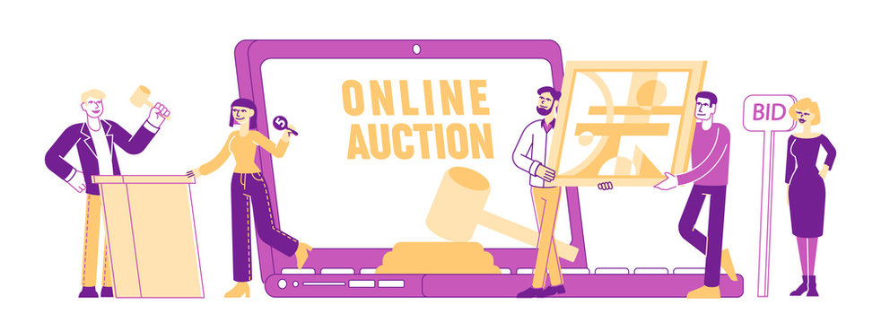 Online Auction Concept. People Buying Assets in Internet. Tiny Male and Female Characters around of Huge Laptop and Gavel Holding and Rising Bid Boards Poster Banner Flyer Linear Vector Illustration