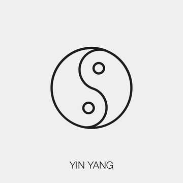 yin yang icon vector. Linear style sign for mobile concept and web design. yin yang symbol illustration. Pixel vector graphics - Vector.