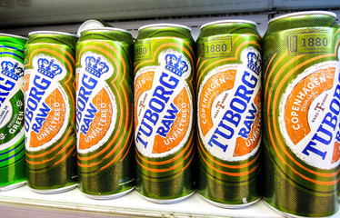 Tuborg alcoholic beer in metal cans ready for sale