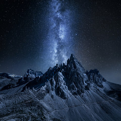 Wall Mural - Milky way over Monte Paterno, Dolomites in Italy