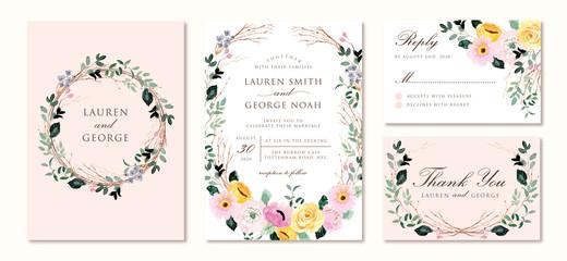 Fototapeta wedding invitation set with yellow pink floral watercolor obraz