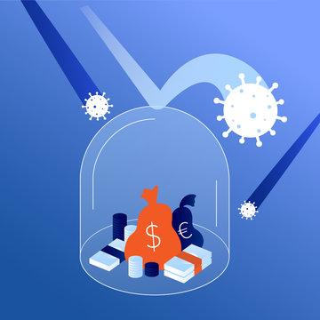 Concept Coronavirus financial crisis illustration. Saving money in global economic crisis during COVID-19 outbreak.